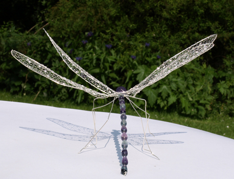 Dragonfly - sterling silver and fluorite
